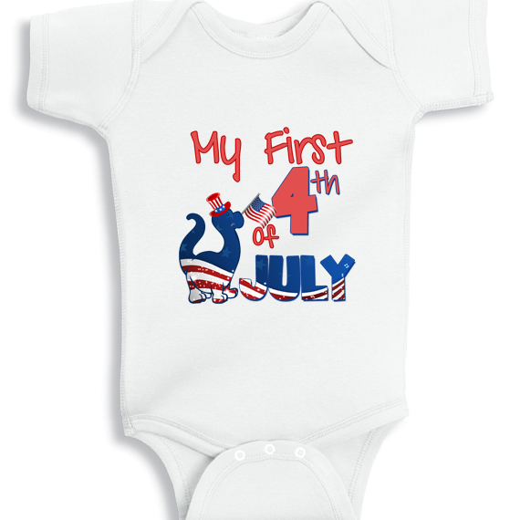 0f9a4d2aa My First 4th of July Patriotic Dino baby onesie