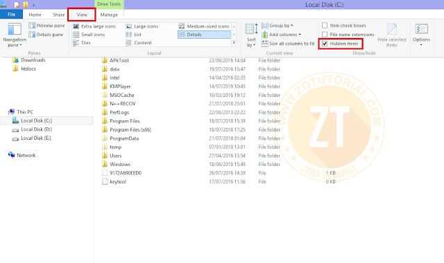 Menampilkan Folder Tersembunyi (Hidden File) Windows 8.1/10