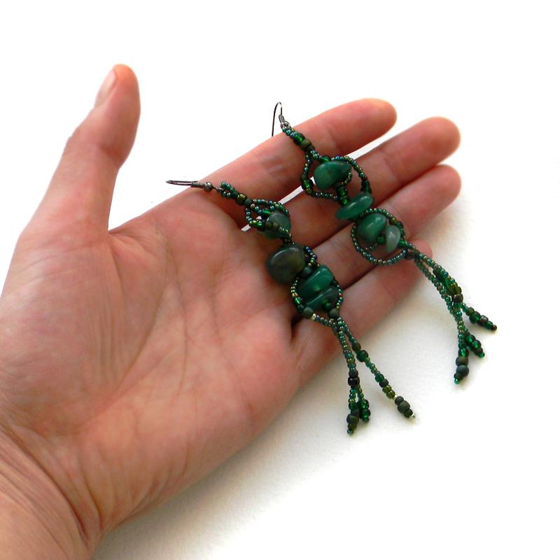 купить серьги из бисера зеленые сережки с агатом анабель