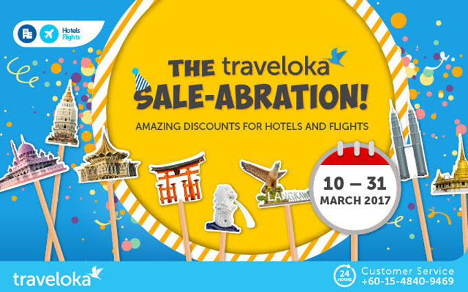 Traveloka Sale-abration - Flight Hotel Diskaun Hingga 31 Mac 2017