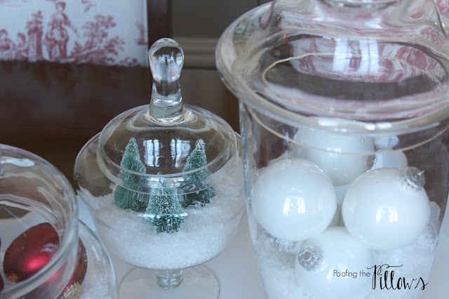 Christmas apothecary jars, Christmas in Texas blog hop hosted by Poofing the Pillows