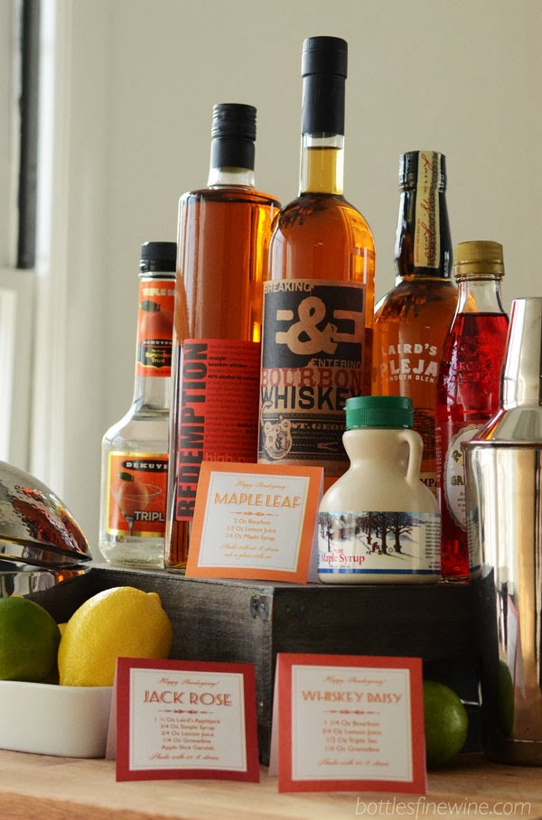 self serve cocktail Thanksgiving bar bourbon free printable recipe signs
