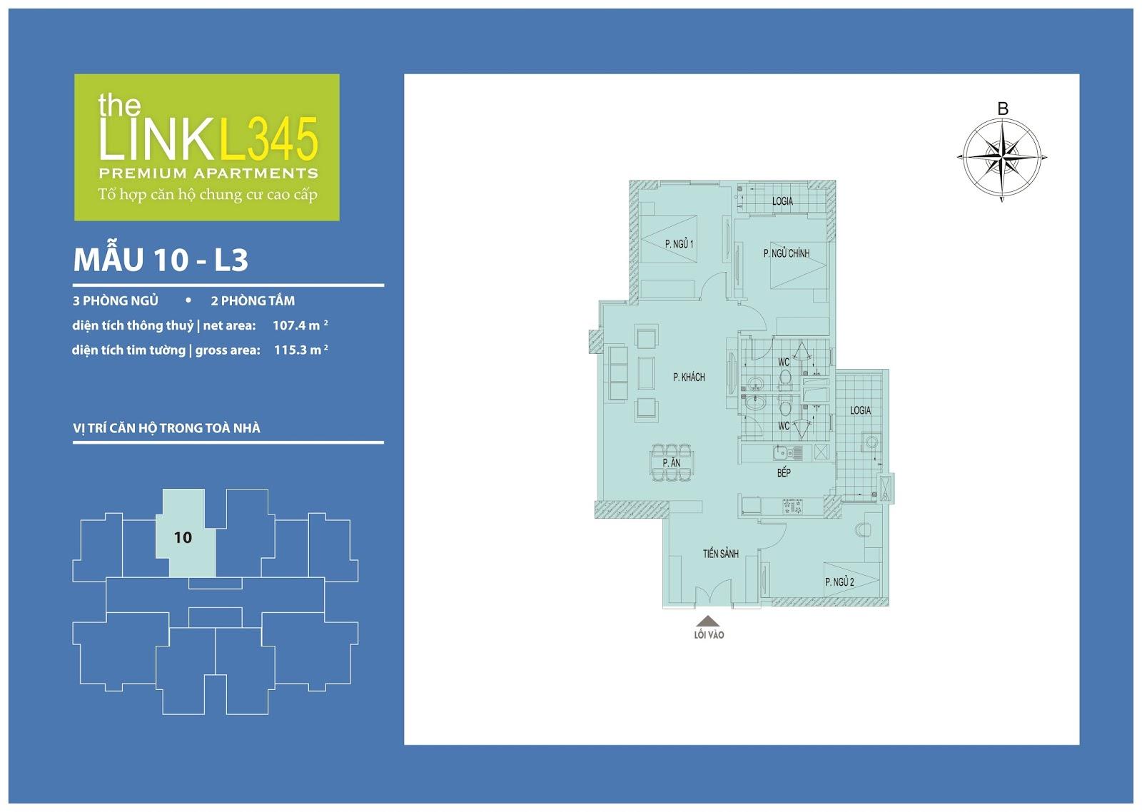 Mặt bằng chi tiết căn hộ 10 - L3 The Link