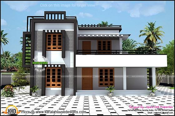 2380 sq-ft flat roof house
