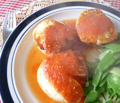 Fried Halloumi Cheese on Polenta Cakes with Tomato Sauce