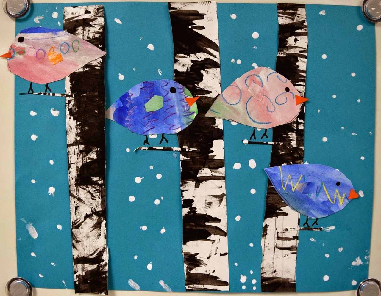 Winter Birds and Birch Trees 1st  Part II  Art with Mrs Nguyen