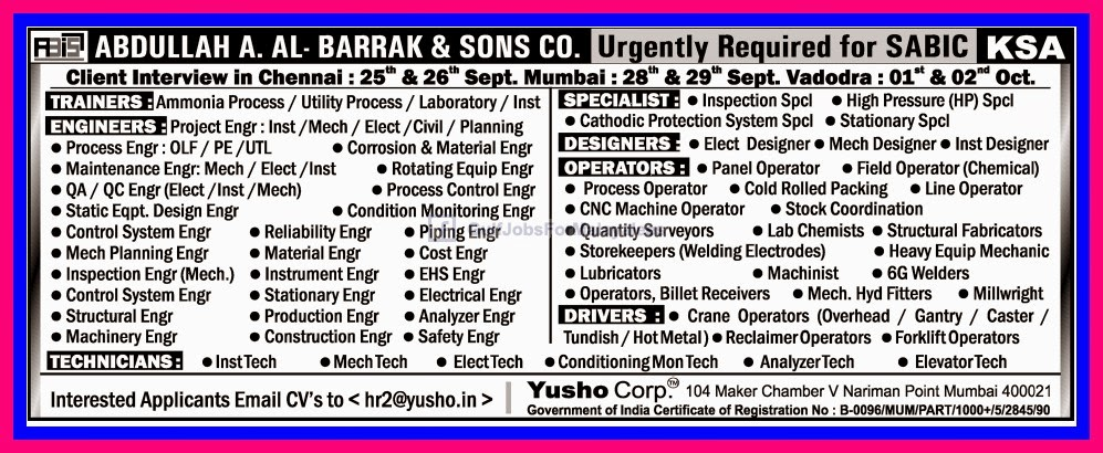 Urgently Required For SABIC KSA - Gulf Jobs for Malayalees