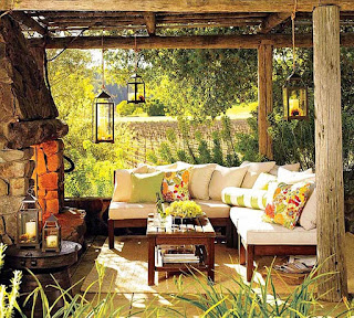 fresh pottery barn patio ideas feats stone mantel fireplace plus foamy sectional seating plus greenery