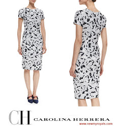 Queen Letizia Style CAROLINA HERRERA Dress and MAGRIT Pumps