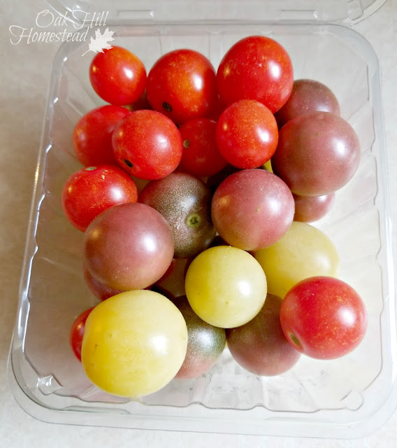 Red husky, black cherry and snow white cherry tomatoes