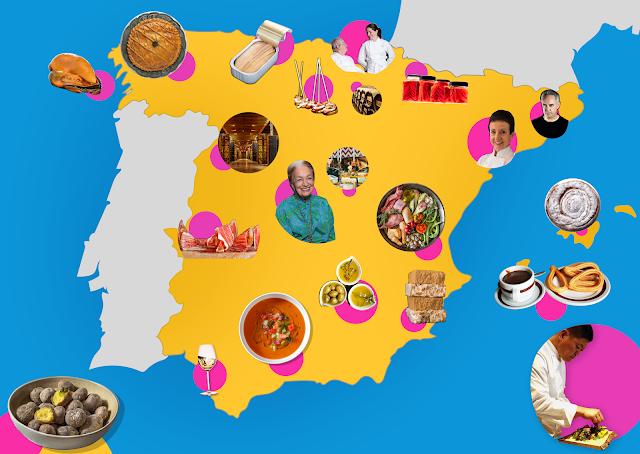 Eine gezeichnete Landkarte mit Essensfotos darauf