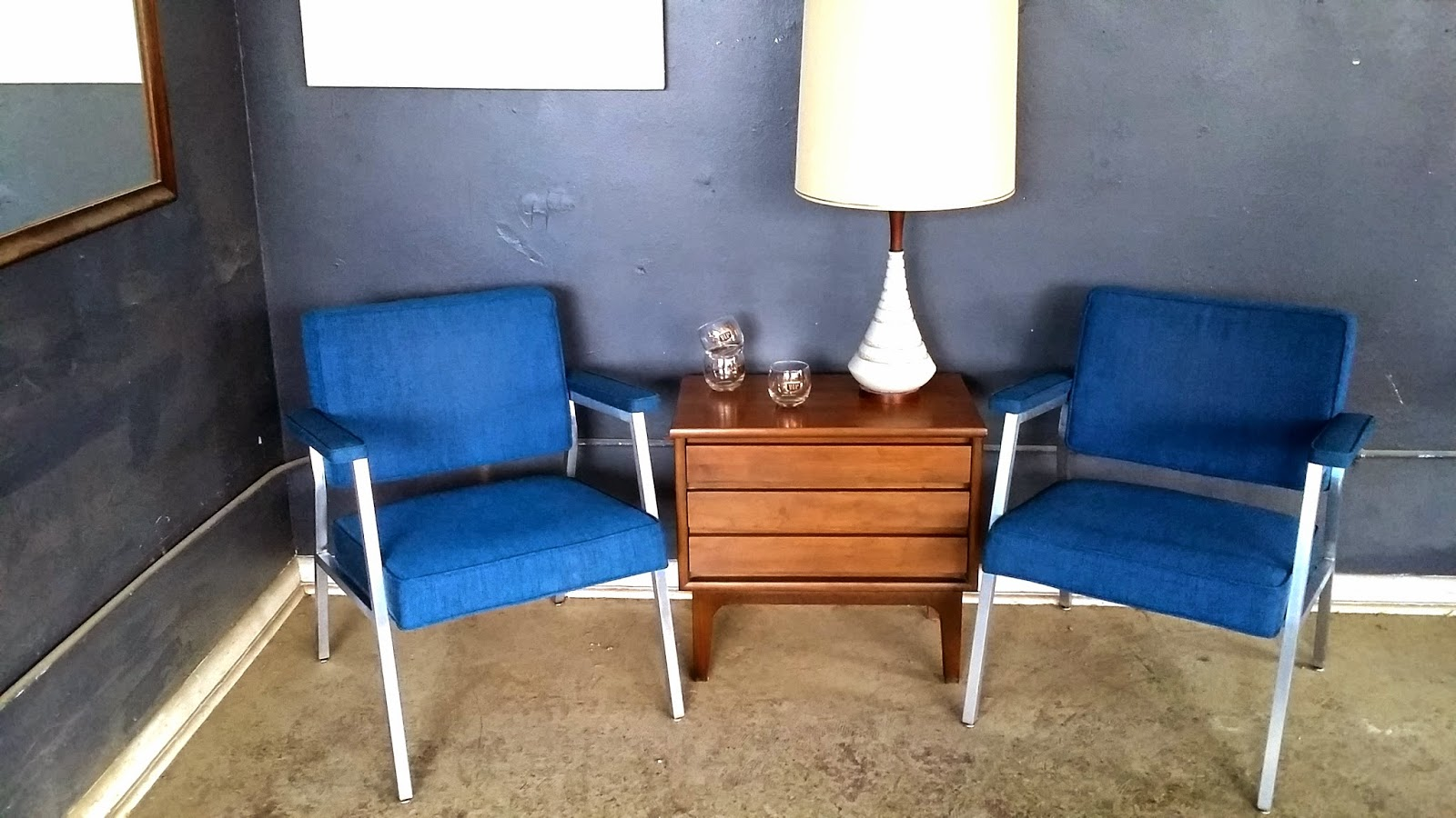 steelcase vintage chair for baby shower ground pair mid century chairs this is an awesome of both are in excellent condition and a beautiful blue upholstery very comfortable they would make