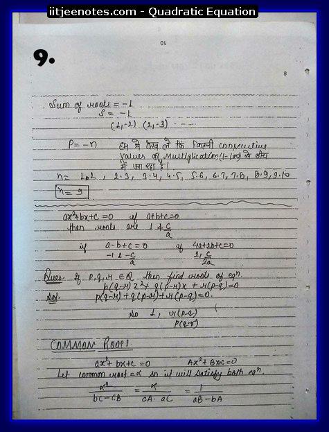 Quadratic Equation Notes-Maths9