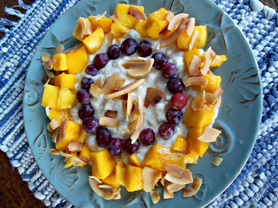 Summer fruit dessert, no grains, no sugar. Summer Fruits with Banana Creme and Toasted Coconut.