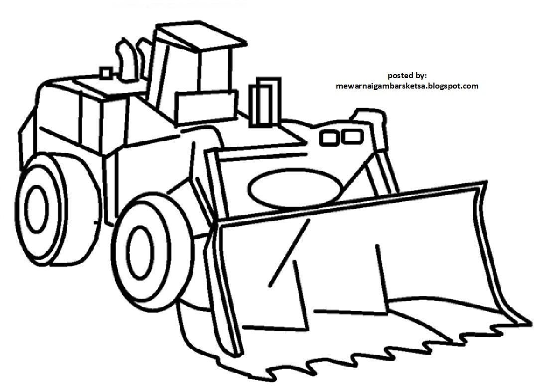Mewarnai Gambar Sketsa Transportasi Alat Berat Exavator