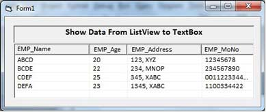ListView Data for show in textbox