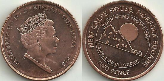 Gibraltar 2 pence 2018 Calpe House