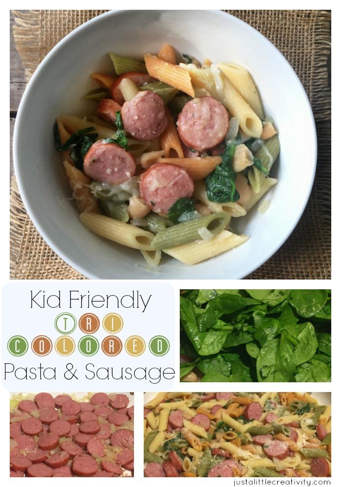 Pasta spinach sausage
