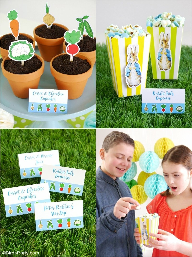 A Peter Rabbit Spring Party with Free Printables - lots of creative decoration ideas, food & activities for a birthday, baby shower or Easter celebration! by BIrdsParty.com @birdsparty #PeterRabbitMovie #peterrabbit #peterrabbitparty #springparty #easter #peterrabbitbirthday