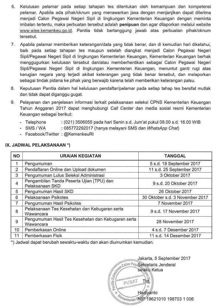 Lowongan Kerja CPNS Kementerian Keuangan Terbaru