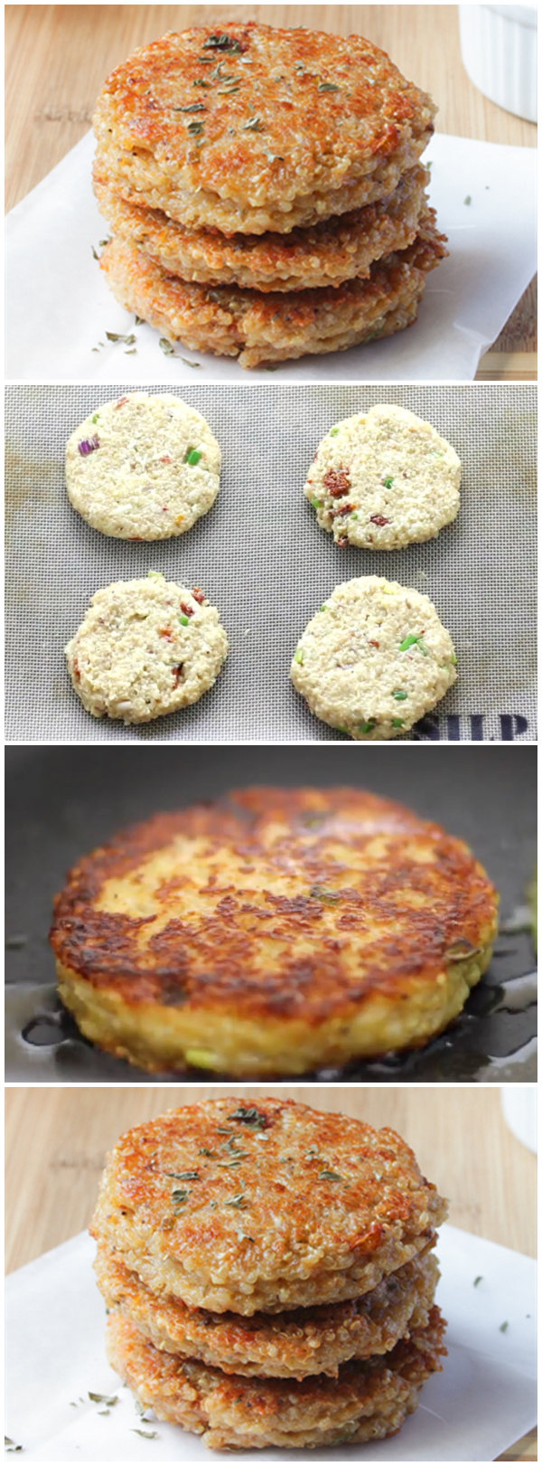 Quinoa Veggie Burgers (Sun-dried Tomato and Mozzarella)