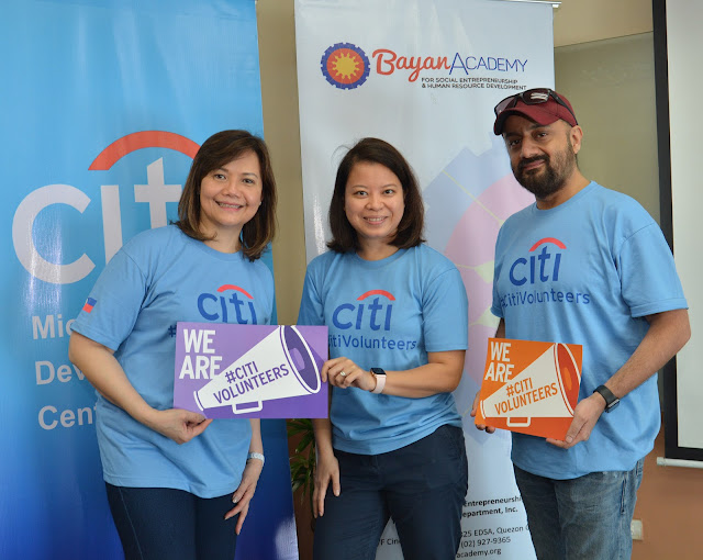 (L-R) Citi talent and learning development head Agnes Mondonedo, Citi public affairs head Lisa Coory, and country human resources officer Sarab Singh at Bayan Academy