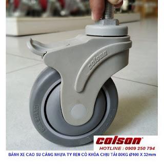 Bánh xe cao su xoay khóa Colson ty ren phi 100mm | STO-4854-448BRK4 www.banhxedayhang.net