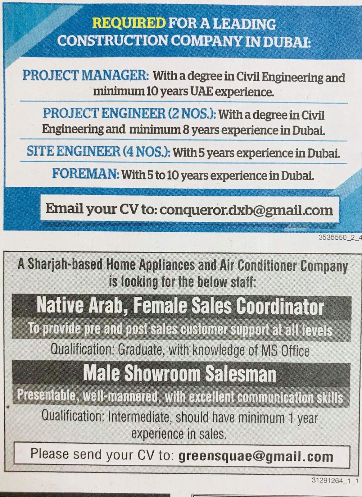 Required Engineers,Managers, Foreman & Sales Staff Local