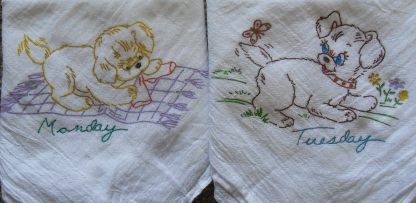 """Puppy Fun"" Four Sack Dishtowel Set click image for Purchase info"