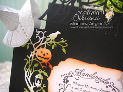 center step card for halloween  back