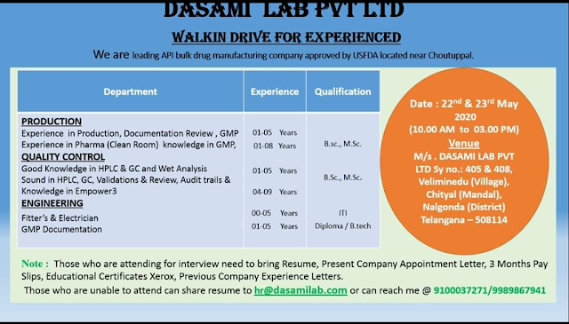 DASAMI Lab Pvt. Ltd. Walk in Drive - Production/ QC/ Engineering On 22nd & 23rd May 2020