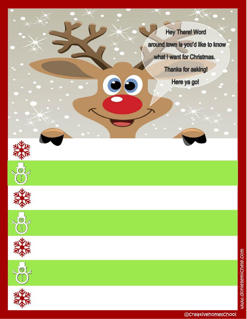 Free Christmas List Printable!  Christmas List Template For Kids