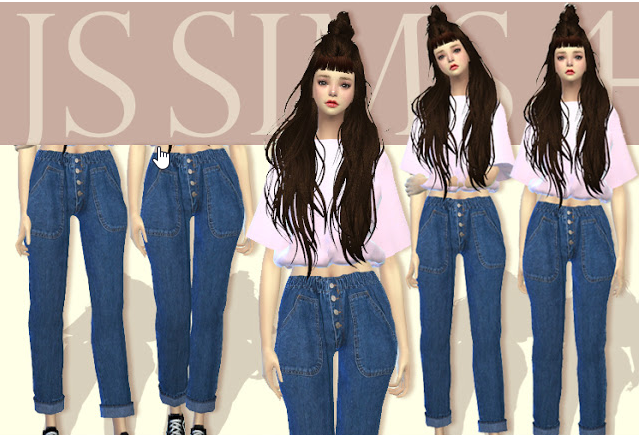 fe34b30a3f5 JS SIMS 4] Button Bending Denim Jeans - แจก Mod The Sims 4