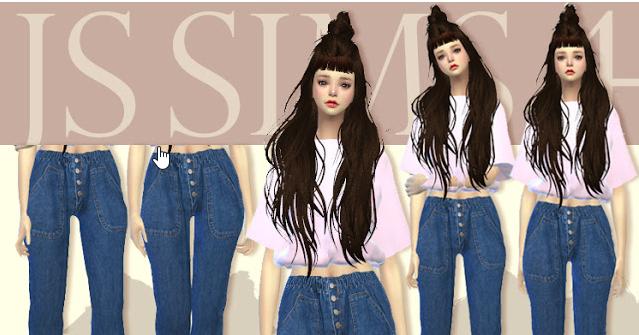 482e8b37929 [JS SIMS 4] Button Bending Denim Jeans - แจก Mod The Sims 4