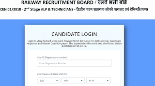 RRB ALP CBT 2nd Exam Revised Result Declared check score card now