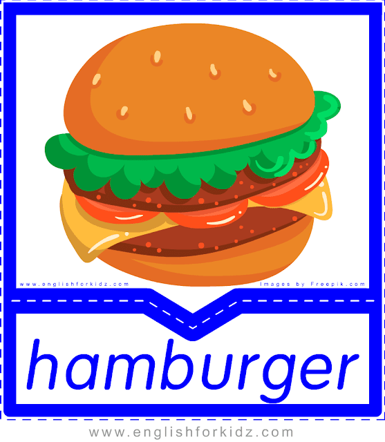 Hamburger - English food flashcards for ESL students