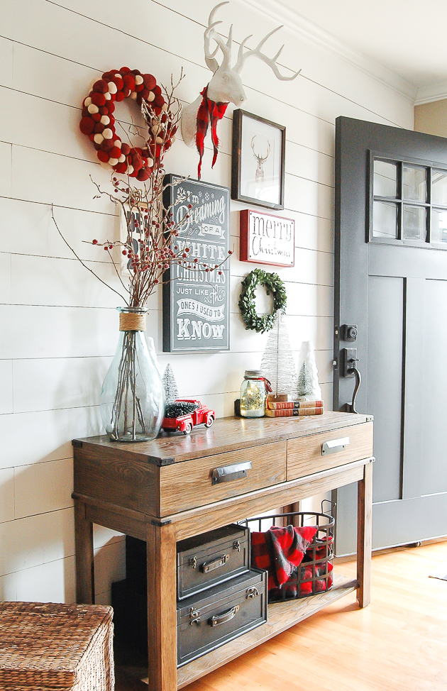 Classic Christmas entryway gallery wall