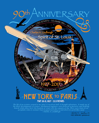 90th Anniversary Charles Lindbergh Flight T Shirt Design