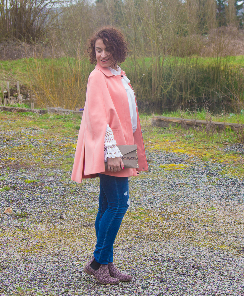 look - manteau - cape - la redoute - rose