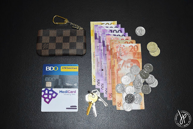 coin purse, cards, keys, banknotes, coins