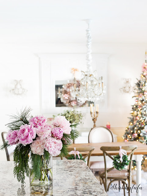 Christmas Decoration Pink Peonies