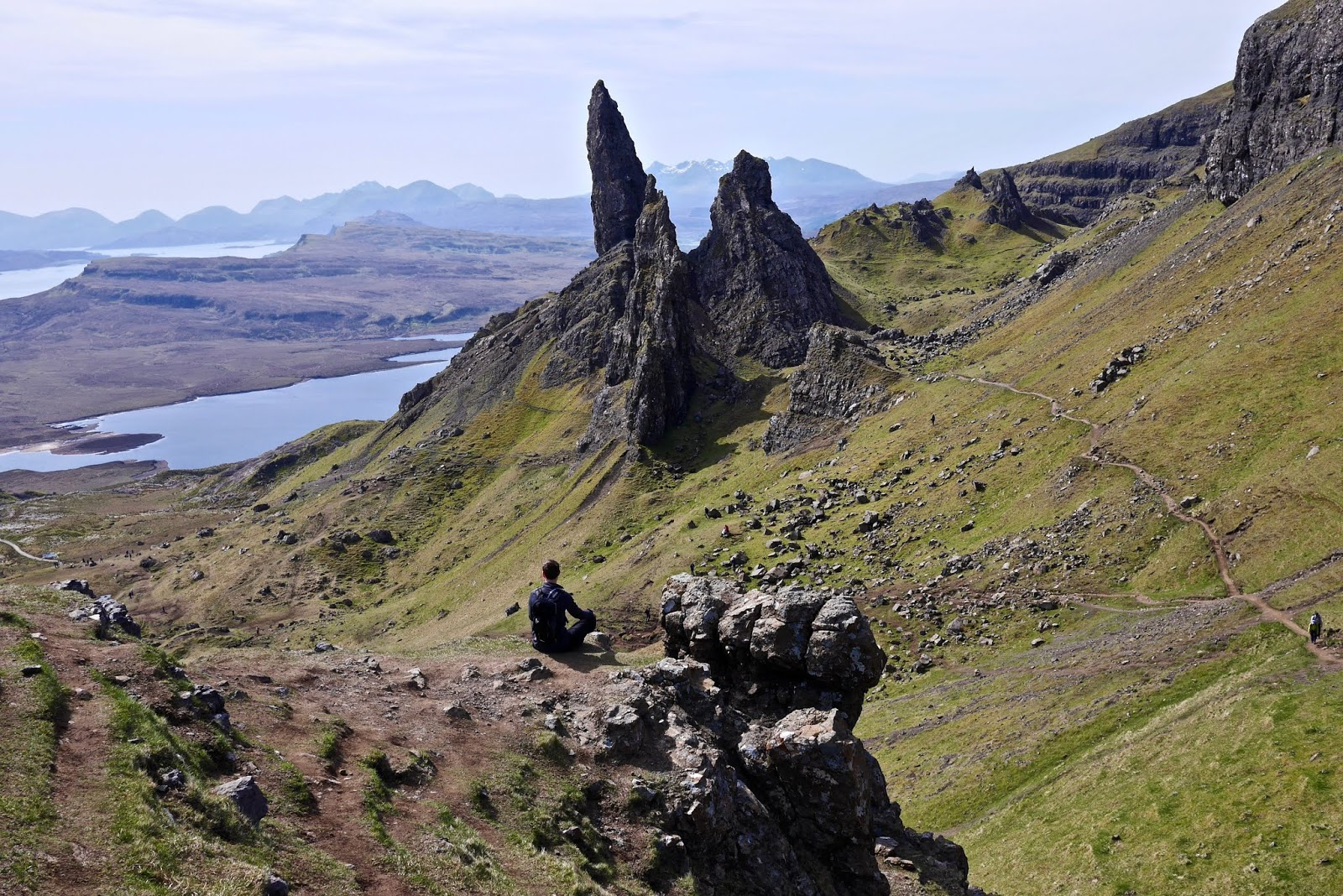 Old man of Storr, isle of Skye,, Almost Chic and Cal McTravels during their Scottish Island Hopping in the outer Hebrides