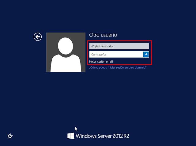 Windows 2012 R2 ventana de Login.