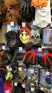 A selection of Masks and costume additions on sale in Tesco