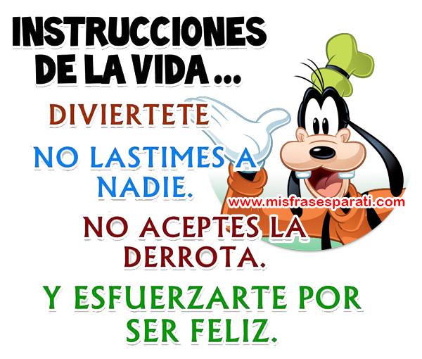 Instrucciones de la vida... Diviértete, no lastimes a nadie, no aceptes la derrota y esfuérzate por ser feliz.