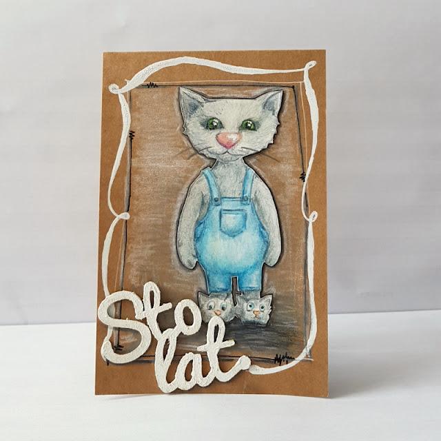 ręczniemalowany kot, sto lat