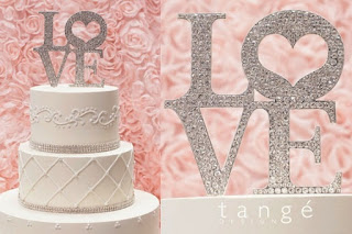 Rhinestone LOVE themed wedding cake toppers