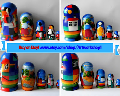 Set of 5 puppets a tall matryoshka dolls Malevich