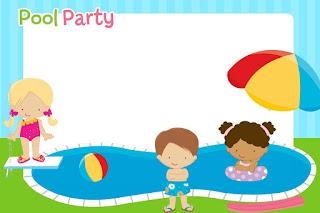 Para hacer invitaciones, tarjetas, marcos de fotos o etiquetas, para imprimir gratis de Fiesta de Nenas en las Piscina.