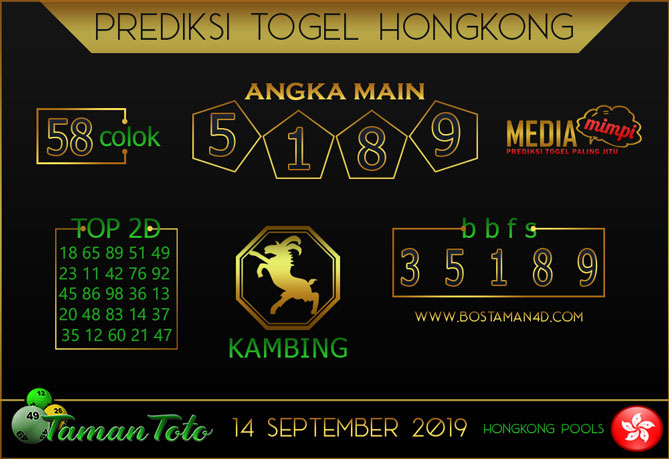 Prediksi Togel HONGKONG TAMAN TOTO 14 SEPTEMBER 2019